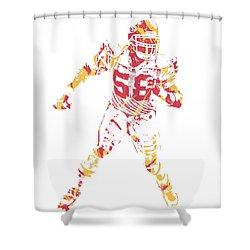 Derrick Thomas Kansas City Chiefs Pixel Art 1 Shower Curtain