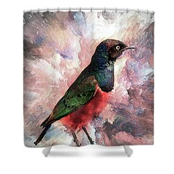 Shower Curtain featuring the photograph Desaturated Starling by Kay Brewer