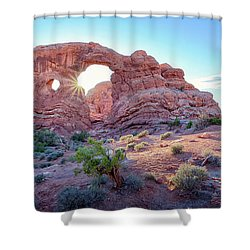 Shower Curtain featuring the photograph Desert Sunset Arches National Park by Nathan Bush