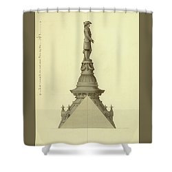 Design For City Hall Tower Shower Curtain