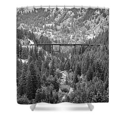 Shower Curtain featuring the photograph Devils Gate In Black And White by Jon Burch Photography