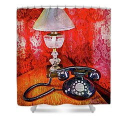 Shower Curtain featuring the painting Dial Up Telephone by Joan Reese