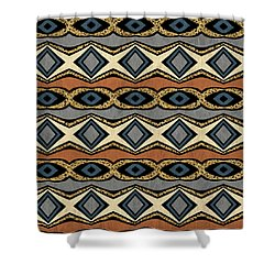 Diamond And Eye Motif With Leopard Accent Shower Curtain
