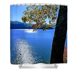 Shower Curtain featuring the photograph Diamond Ripples On The Water by Rachel Hannah