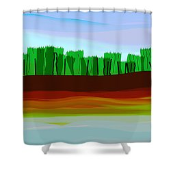 Digital Landscape Organic City Shower Curtain