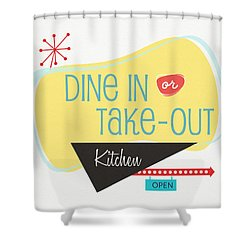 Shower Curtain featuring the digital art Dine In Kitchen - Art By Linda Woods by Linda Woods
