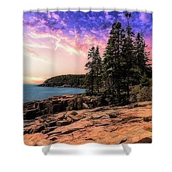 Distant View Of Otter Cliffs,acadia National Park,maine. Shower Curtain