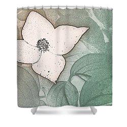 Dogwood Flower Stencil On Sandstone Shower Curtain