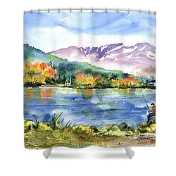 Donner Lake Fisherman Shower Curtain
