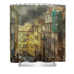 Downhill, Downtown, Prague Shower Curtain