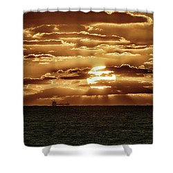 Shower Curtain featuring the photograph Dramatic Atlantic Sunrise With Ghost Freighter In Goldtone by Bill Swartwout Fine Art Photography