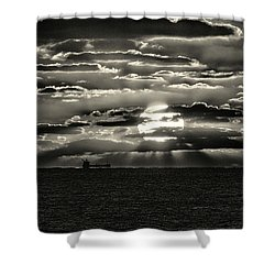 Shower Curtain featuring the photograph Dramatic Atlantic Sunrise With Ghost Freighter In Monochrome by Bill Swartwout Fine Art Photography