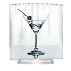 Dry Martini With Green Olive In Cocktail Glass Over White Backgr Shower Curtain