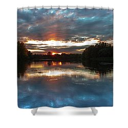 Shower Curtain featuring the photograph Dusk Aquarelle by Davor Zerjav