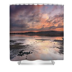 Dusky Pink Sunrise Bay Waterscape Shower Curtain
