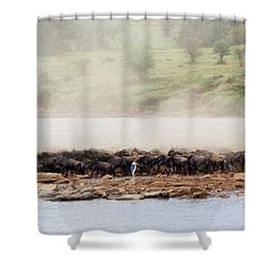 Shower Curtain featuring the photograph Dust Of The Wildebeest by Kay Brewer