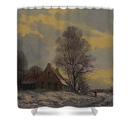 Dutch Snow Landscape Shower Curtain
