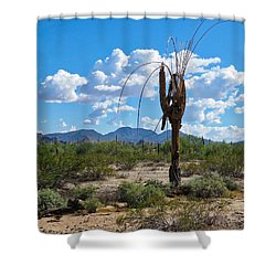 Dying Saguaro In The Desert Shower Curtain