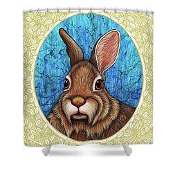 Eastern Cottontail Portrait - Cream Border Shower Curtain