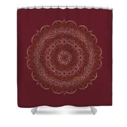 Shower Curtain featuring the painting Elegant Golden Mandala Buddhist Symbol by Georgeta Blanaru
