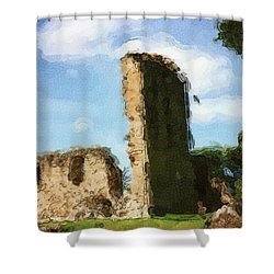 Elgin Cathedral Ruins Painting Shower Curtain