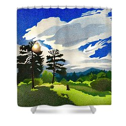 Shower Curtain featuring the drawing Elk Ridge Twilight by Dan Miller