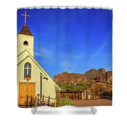 Elvis Chapel At Apacheland, Superstition Mountains Shower Curtain
