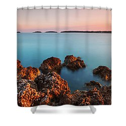 Ember And Blue Shower Curtain