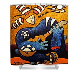 Shower Curtain featuring the painting Fajardo Dreaming by Oscar Ortiz