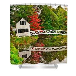 Fall Footbridge Reflection Shower Curtain