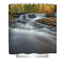 Shower Curtain featuring the photograph Fall Morning At Vaughan Brook. by Rick Berk
