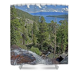 Shower Curtain featuring the photograph Falls Above Emerald Cove by Lynda Lehmann