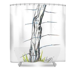 Fence Post Colored Pencil Sketch  Shower Curtain