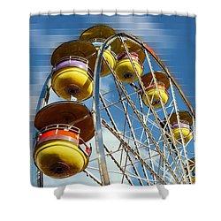 Ferris Wheel On Mosaic Blurred Background Shower Curtain