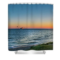 Ferry Going Into Sunset Shower Curtain