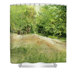 Woodland Trees And Dirt Road Shower Curtain