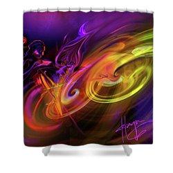 Cellist In Space Shower Curtain