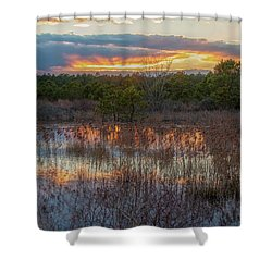 Shower Curtain featuring the photograph Fire In The Sky Over The Pines by Kristia Adams
