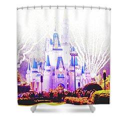 Fireworks, Cinderella's Castle, Magic Kingdom, Walt Disney World Shower Curtain
