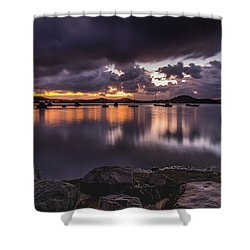 First Light With Heavy Rain Clouds On The Bay Shower Curtain