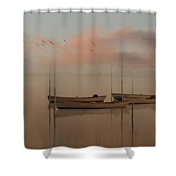 Fishing Boats Resting At Dusk Shower Curtain