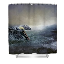 Fishing In The Storm Shower Curtain