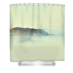 Fiske I Morgondis Hunnebo Vaestkusten   Fishing In Morning Haze Hunnebo Swedish Archipelago 76x73cm  Shower Curtain