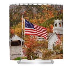 Flag Flying Over The Stark Covered Bridge Shower Curtain