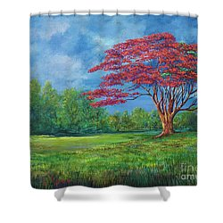 Flame Tree Shower Curtain