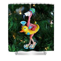 Flamingo Swimmer Shower Curtain