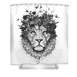 Floral Lion Shower Curtain