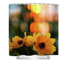 Flowery Bokeh Sunset Shower Curtain