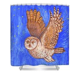 Flying Owl Shower Curtain