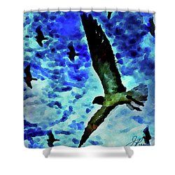Shower Curtain featuring the painting Flying Seagulls by Joan Reese